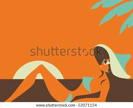 Beach Girl in swimsuit soaking up the sun - stock vector