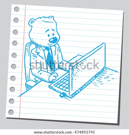 Bear businessman working on computer