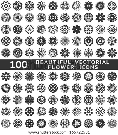 100 Beautiful abstract flower icons. Vector illustration for your pretty chic design. Set of natural shapes. Different romantic feminine symbols. Spring and summer elements. Fantasy collection. - stock vector