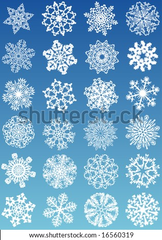 24 beautiful cold crystal gradient snowflakes - vector illustration. Fully editable, easy color change. - stock vector