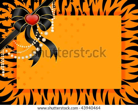 beautiful frame in style of tiger is decorated a bow for christmas postals