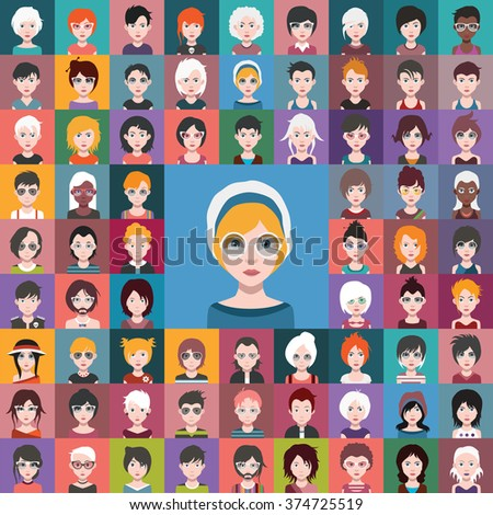 72 Beautiful Girls, With Hairstyles set1 - stock vector