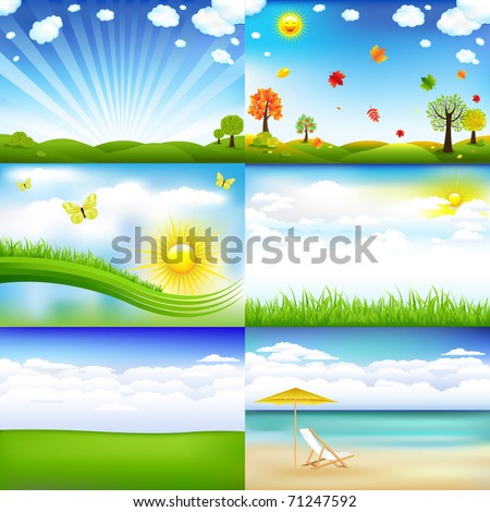 6 Beautiful Landscape With Trees And Clouds, Vector Illustration - stock vector
