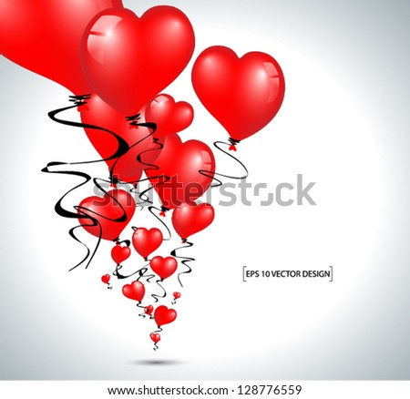 beautiful red heart balloons illustration - stock vector