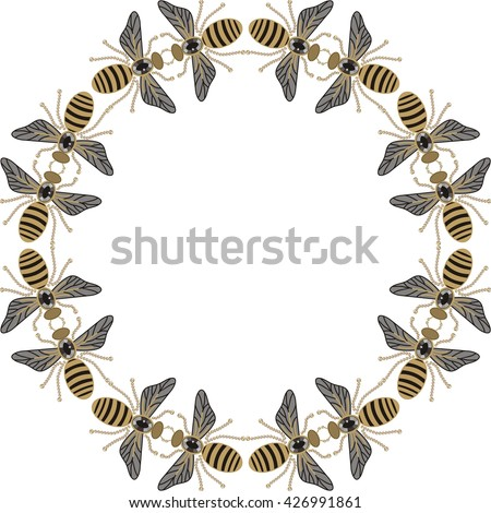 Beautiful round frame of flying bees, dragonflies, shiny gold and black print with precious rhinestones, embroidery and jewelry.