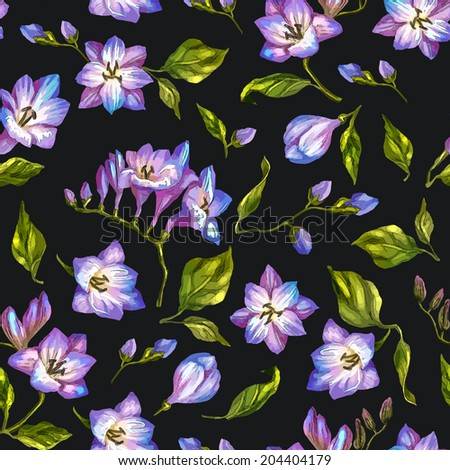 Beautiful seamless floral pattern, flower vector illustration. Elegance wallpaper with of blue freesia on floral background. Decorative Beautiful vector illustration texture.  - stock vector