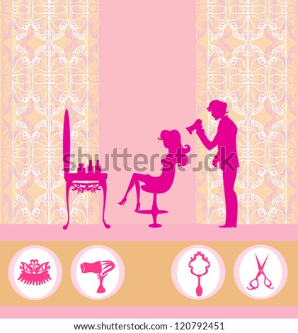 beautiful woman silhouette in barber shop - stock vector