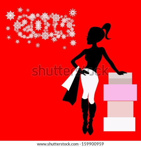beautiful young lady with shopping bags and a stack of boxes on a new year background