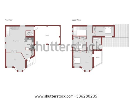 3 bedroom 2 bath residential house CAD architectural project vector illustration. This house has 2 levels. 1 level: Entry, Living, Dining, 1 Bath, Kitchen and Office; 2 level: 3 Bedrooms, 1 Bath. - stock vector