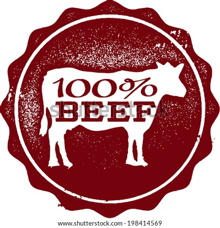 100% Beef Rubber Stamp - stock vector
