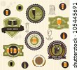Beer badges and labels in vintage style. Vector set - stock photo