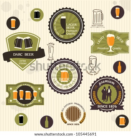 Beer badges and labels in vintage style. Vector set - stock vector
