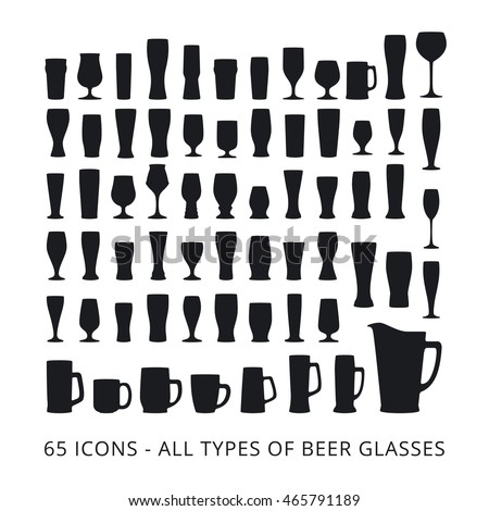 65 beer glass icons set. All types of beer glasses.