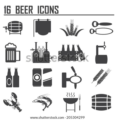 16 beer icons  - stock vector