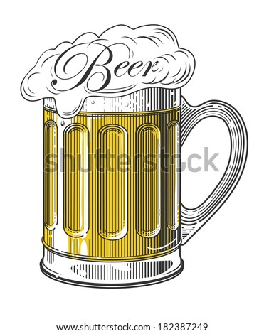 Beer in vintage engraving style on transparent background (Vector illustration)     - stock vector