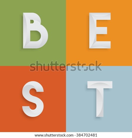 'BEST' four-letter-word for websites, illustration, vector - stock vector
