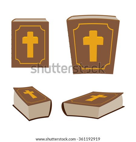 Bible is Holy Book set. Different version of Holy Book of ancient thick. Closed book. Christian Bible is decorated with cross.  - stock vector