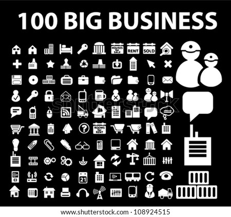 100 big business icons set, vector - stock vector