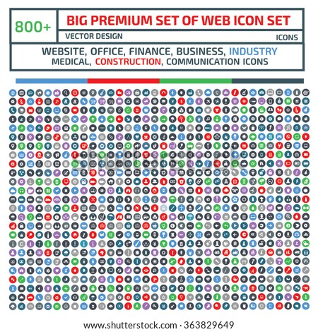 800 Big Premium  Set Of Web icon set,Website,business,finance,industry,communication,construction,clean vector - stock vector