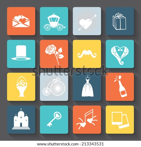 Big set of icons for Valentines day, wedding, love and romantic events and romantic events .Flat colorful icons with long shadow.For web and mobile , wedding infographic. Vector - stock vector