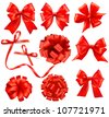 Big set of red gift bows with ribbons Vector - stock photo