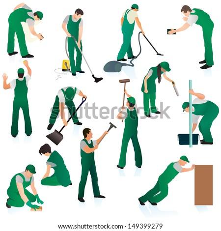 Big set of thirteen uniformed professional cleaners in green - stock vector