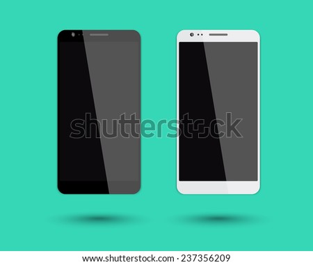 2 big smartphones mockup vector illustration, eps10, easy to edit - stock vector