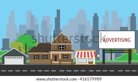 billboard advertising space on side way middle city vector graphic illustration - stock vector