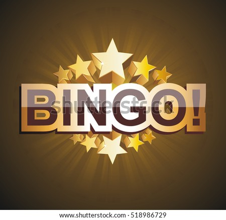 """Bingo"" banner with golden stars, vector illustration."