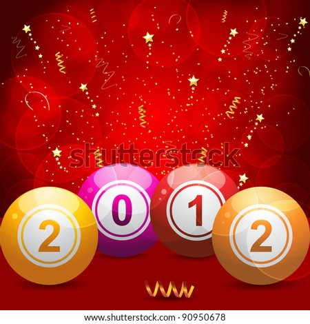 2012 bingo lottery balls on red glowing background with gold streamers and stars - stock vector