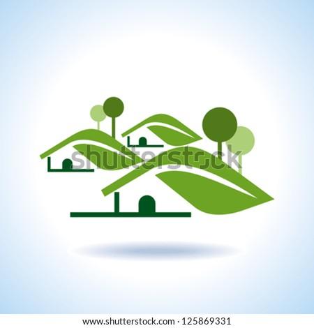 BIO GREEN HOUSES ICONS - stock vector