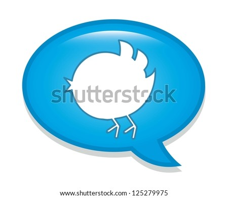 bird over bubble thought over white background. vector - stock vector