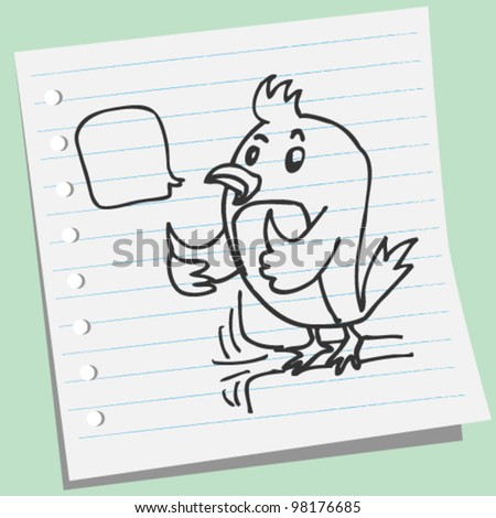 bird showing thumb doodle illustration - stock vector