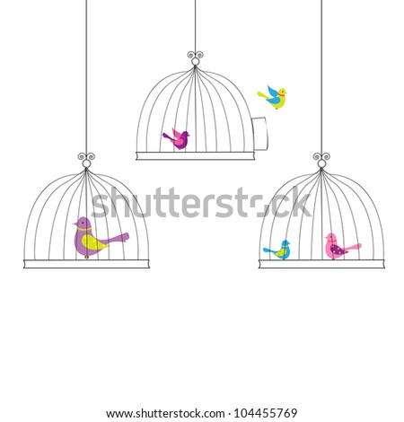 6 Birds in Cage, Isolated On White Background, Vector Illustration