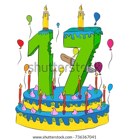 17 birthday cake number seventeen candle stock vector royalty free