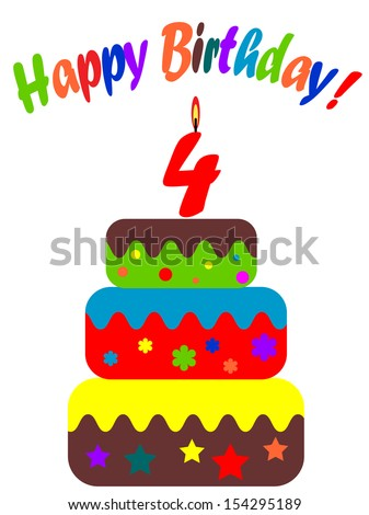 Birthday card , for four years  - stock vector