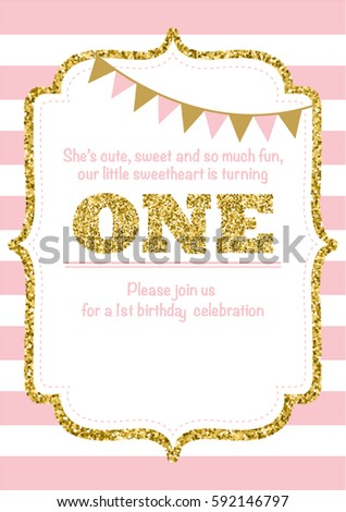 Birthday card invitation turning one pink stock vector 592146797 birthday card invitation is turning one pink with stripes gold glitter and flags with text stopboris Images