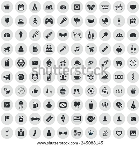 100 birthday icons, black on circle gray background  - stock vector