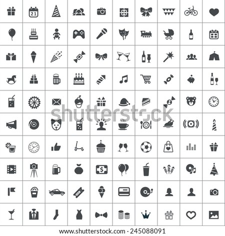 100 birthday icons, black on square white background  - stock vector