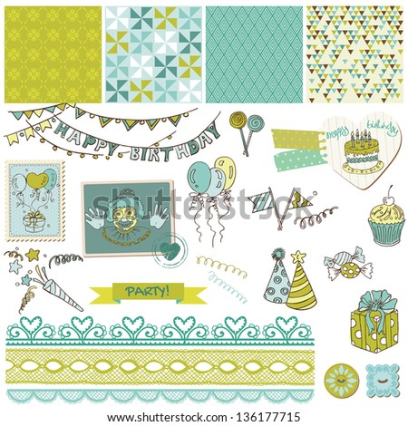 Birthday Party Set - for design and scrapbook - in vector - stock vector