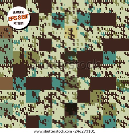 8 bit background. Seamless pattern. Vector design.  - stock vector