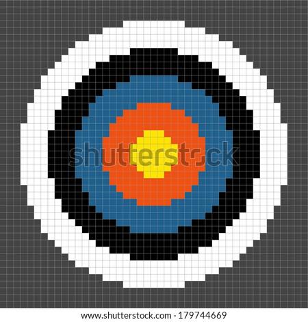 8-bit Pixel-art Archery Target - stock vector