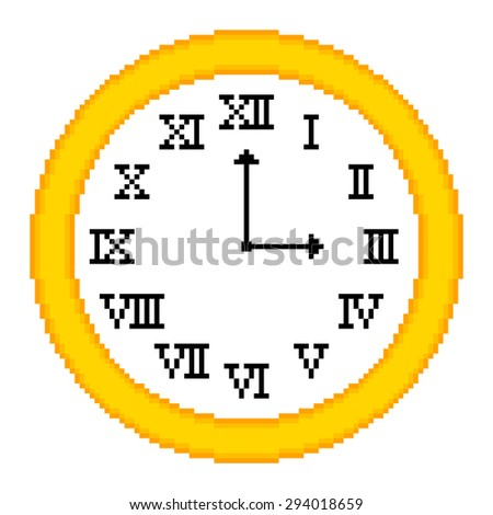 8-bit Pixel Art Clock Showing 3 o'clock. EPS8 vector