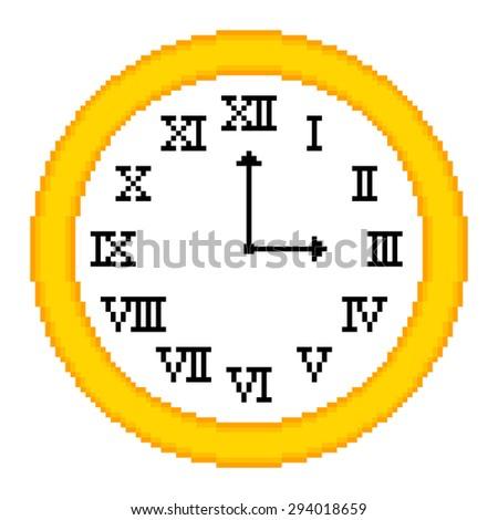 8-bit Pixel Art Clock Showing 3 o'clock. EPS8 vector - stock vector