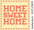 8-bit Pixel-Art Home Sweet Home Mat - stock vector