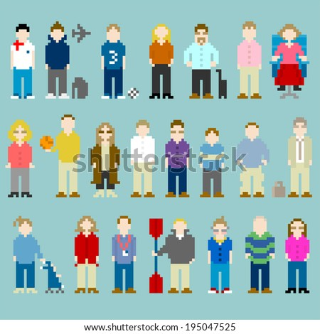 8-bit Pixel-art People From a Web Design Agency Office - stock vector