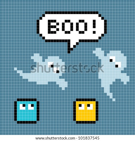 "8-bit Pixel Ghosts Say ""Boo!"" - stock vector"