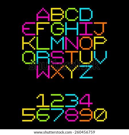 8-Bit Pixel Retro Neon Alphabet Letters. EPS8 Vector - stock vector