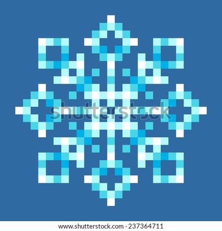 8-Bit Pixel Snowflake - stock vector