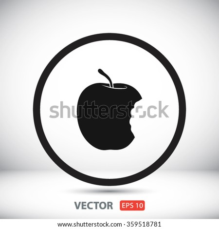 bitten apple  icon. One of set web icons - stock vector